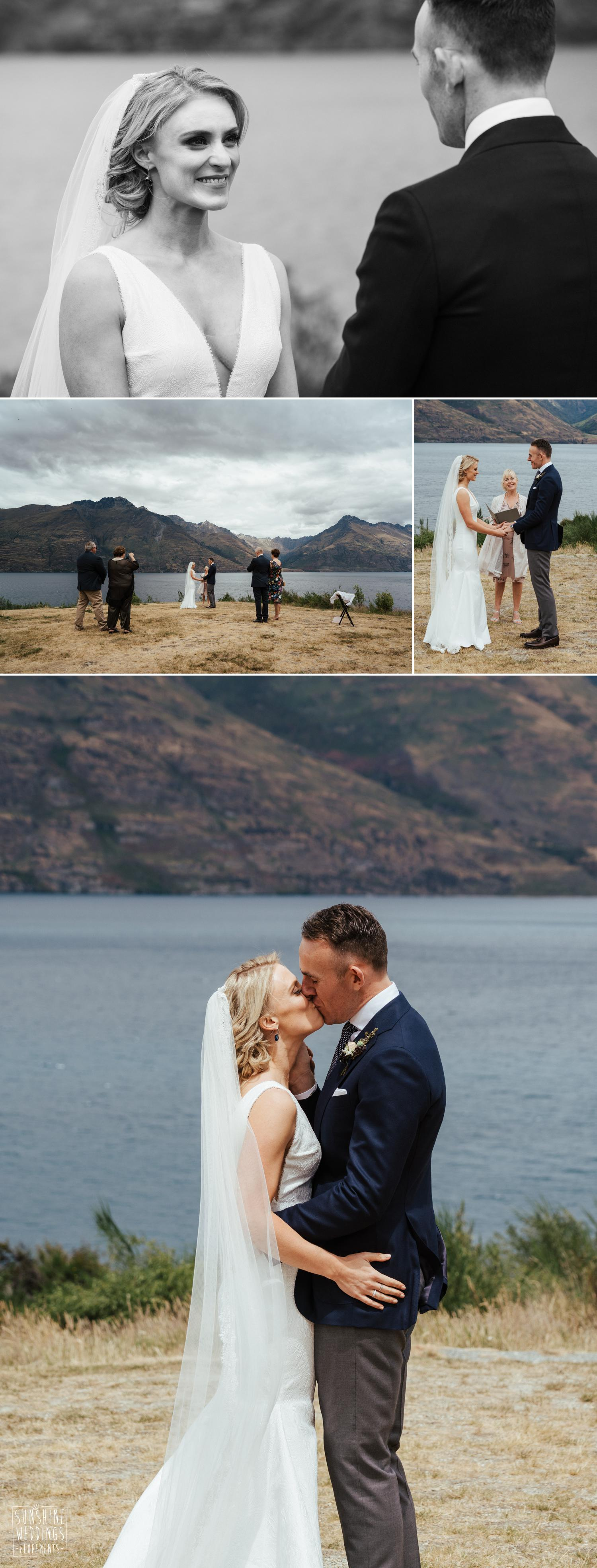 Wedding ceremony lakeside Queenstown