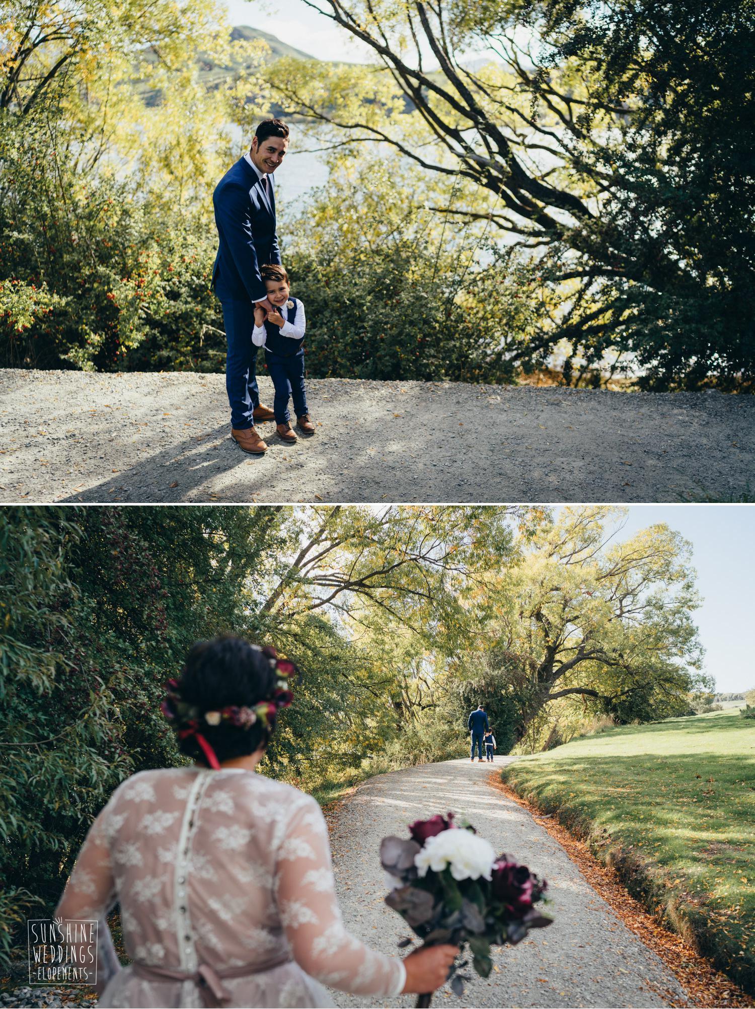 first look wedding photo Queenstown