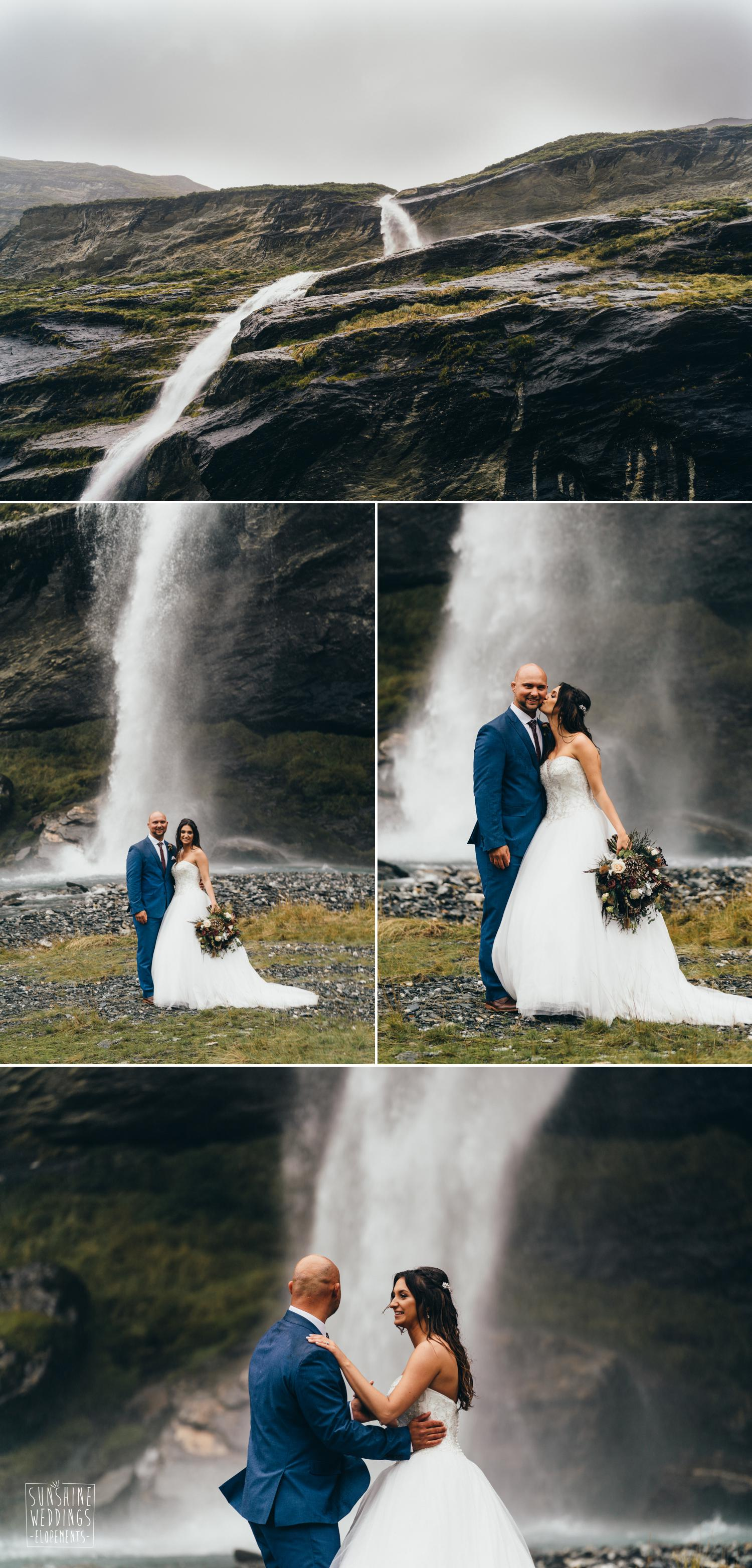 Waterfall wedding photograph